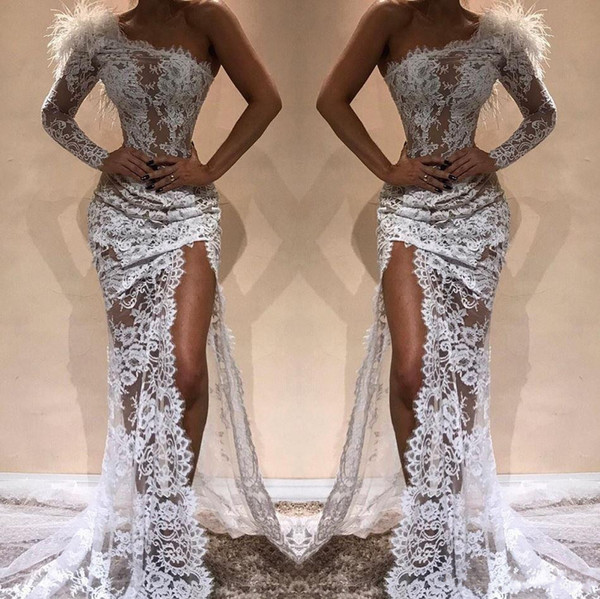 White Full Lace Mermaid Evening Dresses Hot Sell Side Split 2019 Modern One Shoulder See Through Red Carpet Pageant Celebrity Gowns Arabic