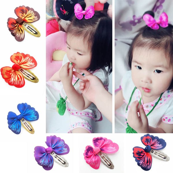 Kids Girl Barrettes Baby Headwear Kids Hair Accessories Elastic Screw Thread 3D Simulation Butterfly Gradient Color 6