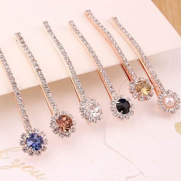 1PC Korean Women Girls Crystal Rhinestone Clip Barrette Pearl Hairpin Hairband Edge Clamp Hair Styling Tools Accessories C19010501