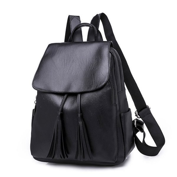 good quality Women Bag Black Backpack Tassel Bagpack Soft Leather Backpacks Female Small Mochilas Mujer Travel School Backpack 2019 A118
