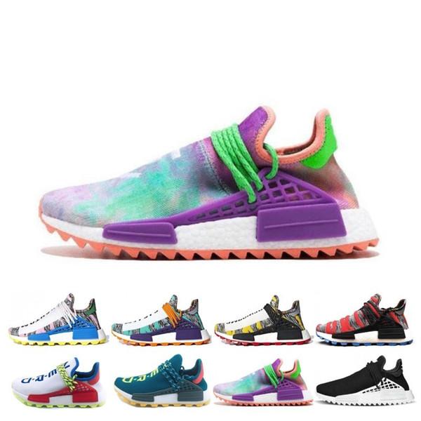 Venta al por mayor de la raza humana Hu trail x pharrell williams PW hombres zapatos para correr Solar Pack Afro Holi Blank Canvas mujer deporte para hombre zapatillas de deporte zapatillas de deporte