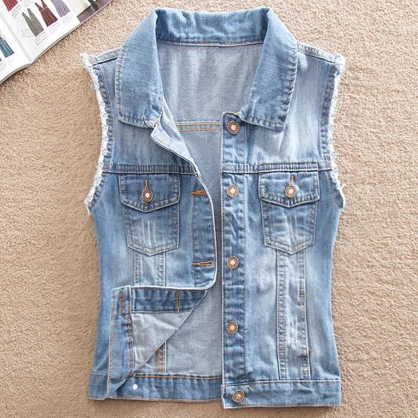 2019 İlkbahar Denim Vest Kadın Kat Vintage Hırka Kolsuz Kısa Casual Jeans Ceketler Coats Yelek Büyük Beden XS-4XL