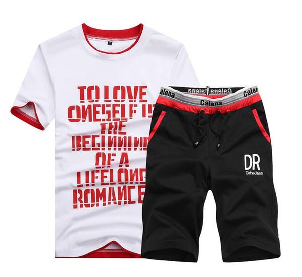 Pantalones cortos de verano Set Hombres Casual Outwear Slim Fit Mens trajes de sudor 2019 Casual T Shirts + Shorts Moda 2PCS Men Sets