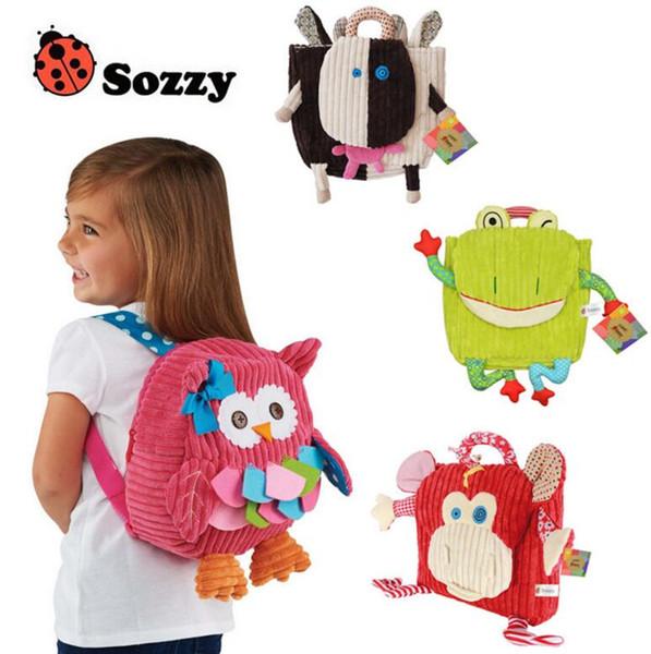 25cm SOZZY School Bags Kindergarten Plush Backpacks Baby Lovely Cartoon Animals Backpacks Kids Plush Shoulder Bag Schoolbag Kids Gift
