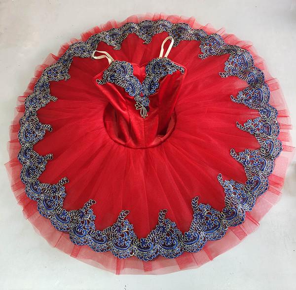 Professionelle Ballett-TUTU rot, Erwachsene Klassische Ballett-Tutu, blau Schwanenseerock Tutu Professionelle Ballett-Tutu-Pfannkuchen für Frauen
