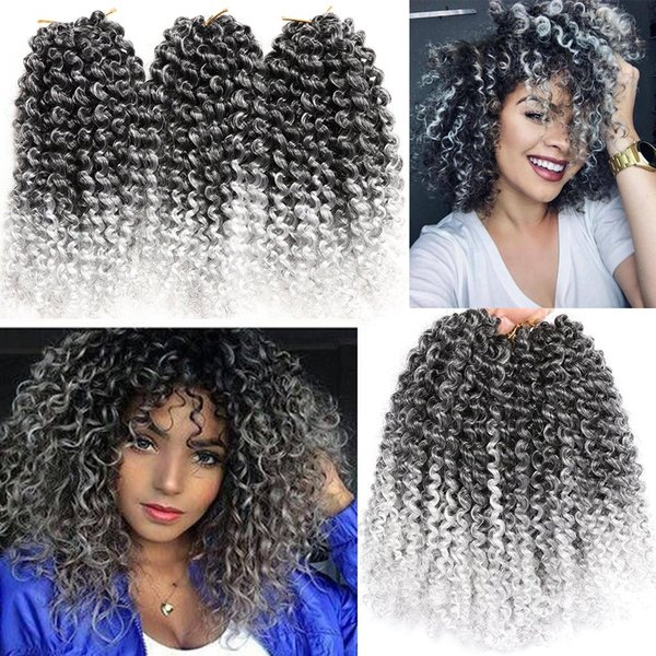 """top popular Fashion 8"""" Marlybob Crochet Hair Extension Marlibob Water Wave Kinky Curly Jerry Curly Braiding Crochet Hair Marley Braid Hair Bundle 2020"""