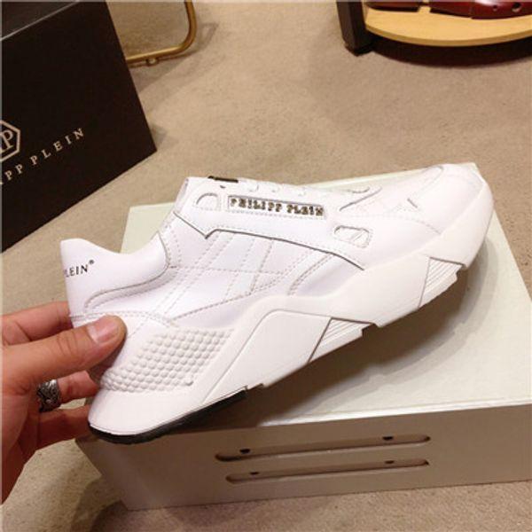 Nuevo diseñador de calidad superior de lujo de los hombres de las mujeres zapatos casuales de cuero genuino caminar entrenador deportivo moda ocio correr zapatilla de deporte con la caja 281
