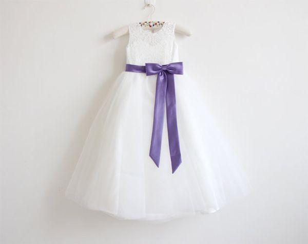 Vestido de niña flor Niña princesa Light Purple Sash Falda de encaje Dama de honor Para la boda formal Ocasión Wish Sash Princesa Bow Brithday