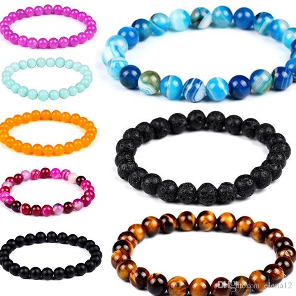 Bracelet en pierre naturelle de volcan de mode gros volcan en pierre de lave d'améthyste coloré bracelet perlé bracelet 162531