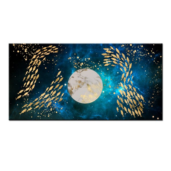 Wall Art Gifts Hot series Modern Abstract Gold Feng Shui Koi Fish Painting Printed On Canvas Picture office Living Room Home Decor BFS4027