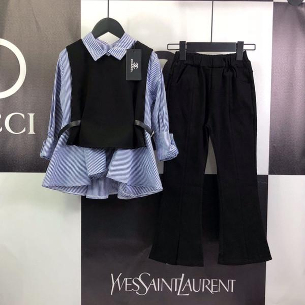 Çocuklar gömlek setleri Kızlar tasarımcı giyim moda gömlek + yelek + rahat çan pantolon 3 adet kumaş rahat nefes sonbahar setleri