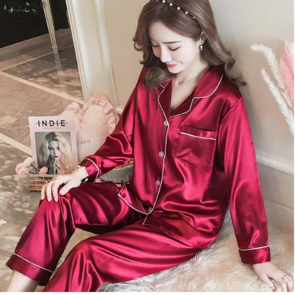 00bfcbd18b Pijamas de pijamas de satén de seda para mujer 2019 de lujo Conjunto de manga  larga