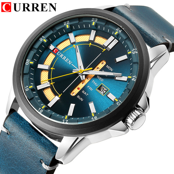 New Mens Watches Curren Unique Fashion Design Dial Quartz Wristwatch Leather Strap Watch Display Date And Week Clock Green Reloj Y19052103