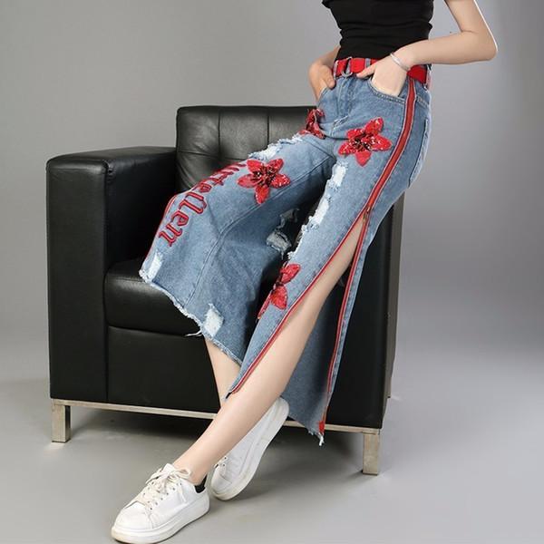 Xuxi 2019 primavera nueva manera recta pantalones de lentejuelas bordado cremallera lateral Jeans personales del tobillo de longitud ancho Pantalón de pierna FZ0270
