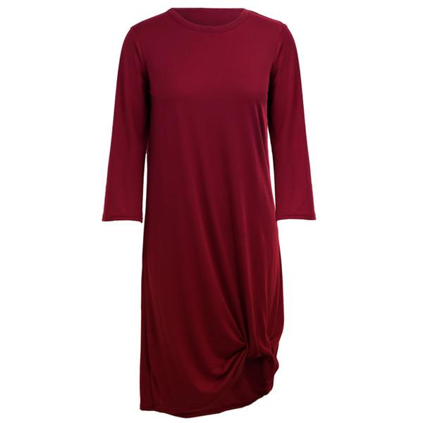 Женское повседневное платье с рукавами 3/4 Ruched Hem O Шея Мягкая асимметричная футболка с коротким рукавом Платье Весенняя мода Vintage Robe Femme