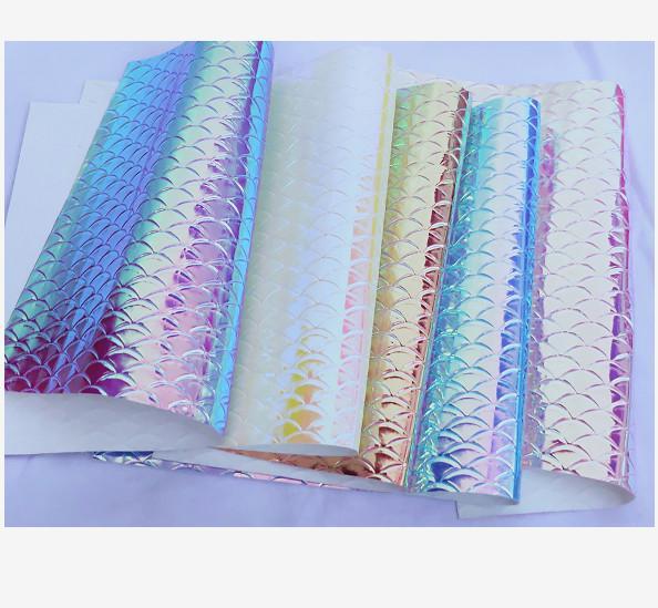 10M Tessuto metallico ecopelle iridescente Vinile olografico Artigianato di cristallo Fogli Tessuto in pelle PU Squame di pesce colorate Regali fai da te Borse