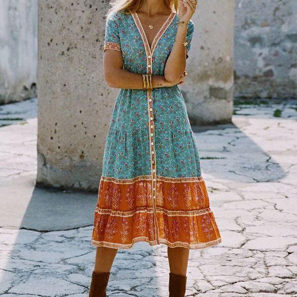 JAYCOSIN Abito estivo da donna Abito stampato da donna Holiday Summer Boho Long Abiti lunghi da sera Party Beach Vestidos MMN