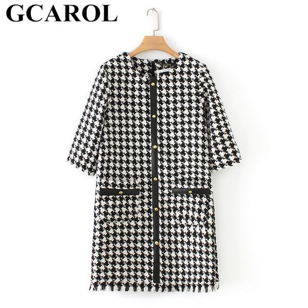 Gcarol 2019 Early Spring Plover Case Ol Work Dress Pu Spliced Metal Buttons Dress Half Sleeve Woollen Tweed Mini Dress Y190426