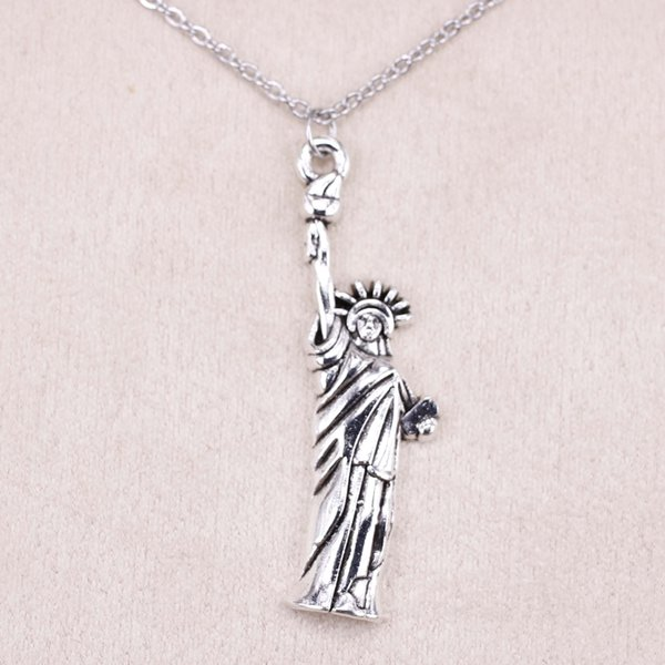 New Fashion Tibetan Silver Pendant statue of liberty new york 49*14mm Choker Charm Short Long DIY Necklace Factory Price Handmade Jewelry