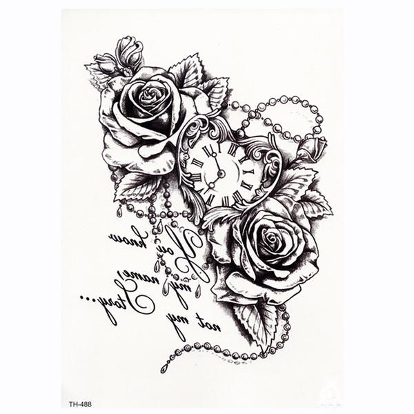 Rose Clock Body Art Tatoo Temporária À Prova D 'Água Sexy Coxa Braço Tatuagens Rose Para A Mulher Flash Do Tatuagem Adesivos