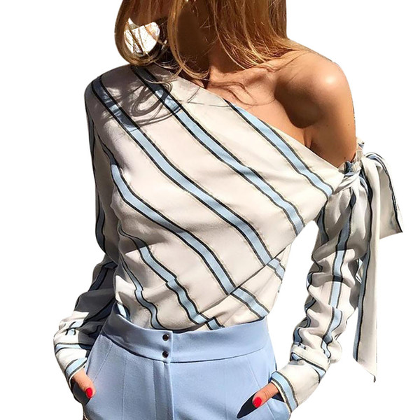 Women Blouses 2019 Women Bow Tie Stripe Summer Long Sleeve Loose Casual Blouse Tops T-Shirt Blusas Femininas Tops