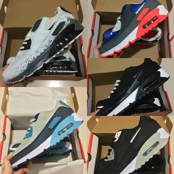 Satmak 2019 Yeni Hava Yastığı 90 Rahat Koşu Ayakkabıları Erkek Kadın Ucuz Siyah Beyaz Kırmızı 90 Sneakers Klasik Air90 Trainer Açık Yürüyüş ayakkabı