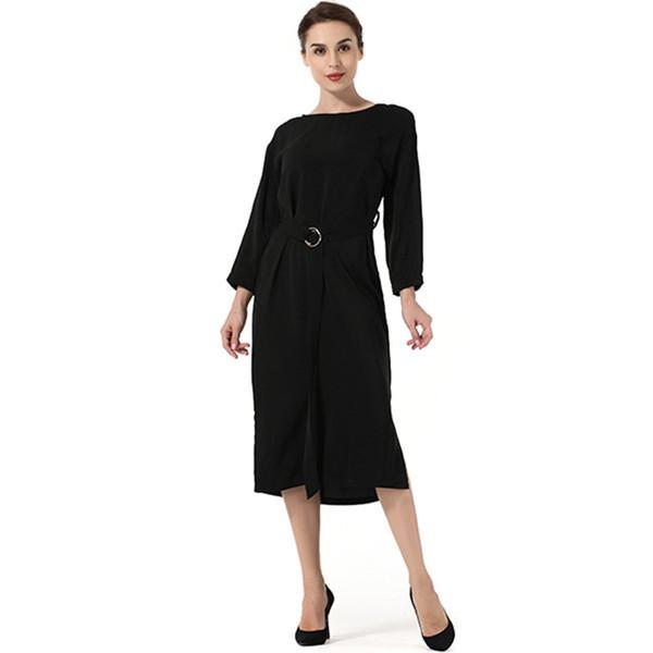 High Quality Dresses Women 2018 Belt Loose Halter Round Neck Bat Sleeve Solid Color Split Dress Clothing Vesditos Yy11 J190507