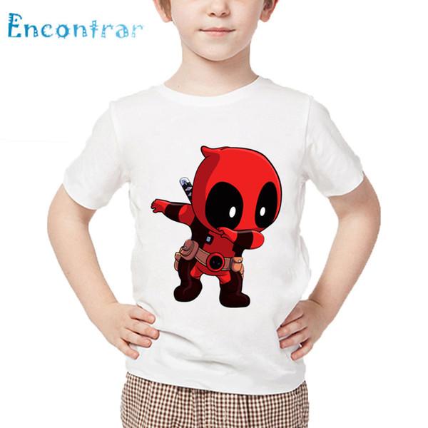 Compre Meninos Meninas Dos Desenhos Animados Dabbing Deadpool Impresso Camiseta Crianças Grande Casual Tops De Verão Das Crianças Engraçado T Shirt