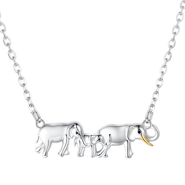 Strollgirl 925 Sterling Silver Lovely Elephants Necklace For Women Fine Jewelry Mother's Day Gift J190610