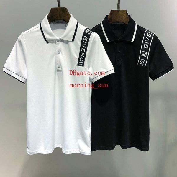 Mens Itália estilo polo camisa de lapela Negócio t shirts moda Marca carta bordado lazer High street cavalo polo camisa dos homens off-w14
