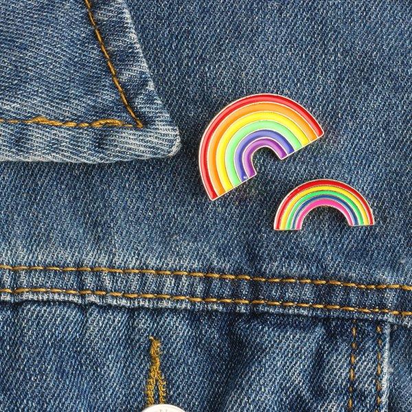 Mode Bunte Emaille Pin Broschen für Frauen Cartoon Kreative Mini Regenbogen Metall Brosche Pins Denim Hut Abzeichen Kragen Schmuck