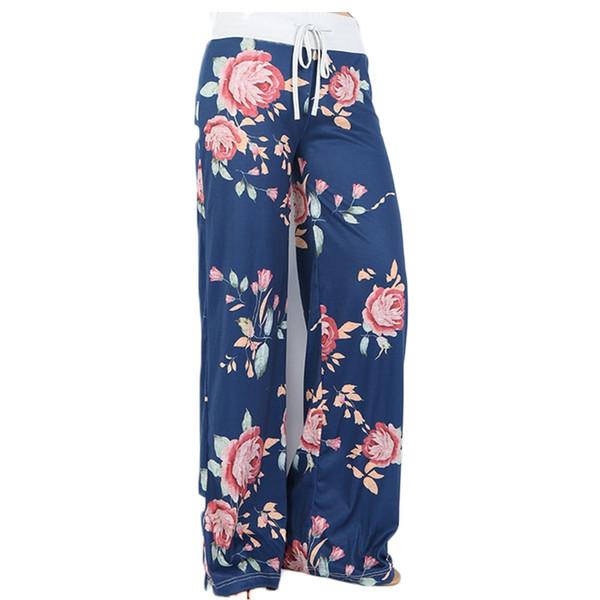 Yoga pantolon Bayanlar çiçek yoga palazzo pantolon bayan yaz geniş bacak pantolon siyah gri artı boyutu S-3XL