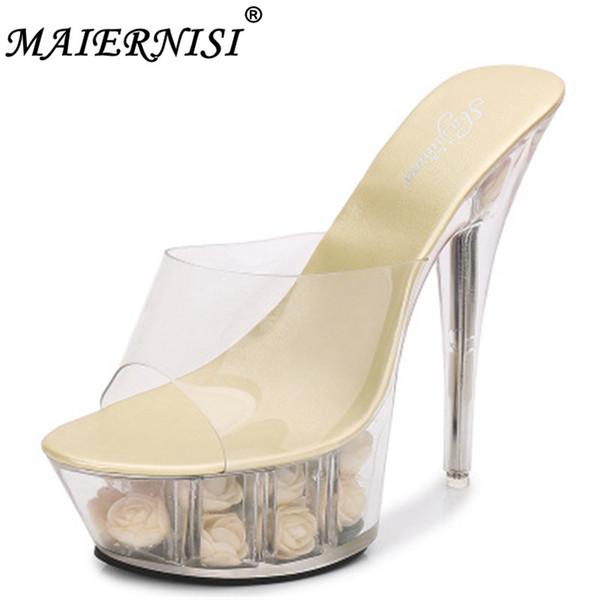 Pantofole della piattaforma della donna della scarpa da sposa Estate Multicolor Rose Flower Slides Impermeabile 15CM discoteca Sexy scarpe tacco alto