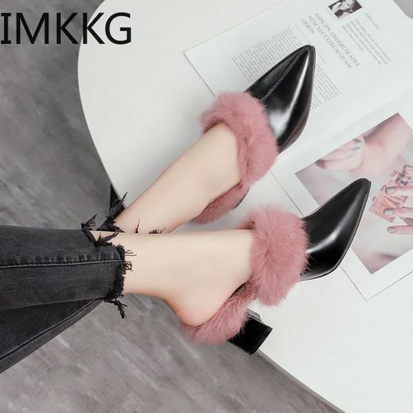Sıcak Kadınlar peluş loafer'lar sıcak pantoufle ayakkabı bayanlar dışında kapalı ayak kürk slaytlar kış kalın topuklu katır terlik üzerinde kayma