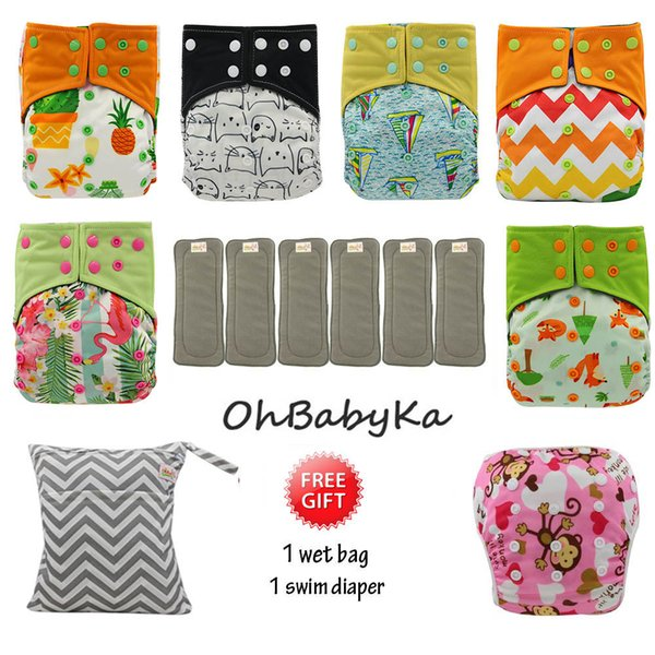 best selling Ohbabyka Baby Cloth Diaper Couche Lavable Training Pants 6pcs Reusable AI2 Pocket Diaper +6pcs Bamboo Insert Baby Nappies