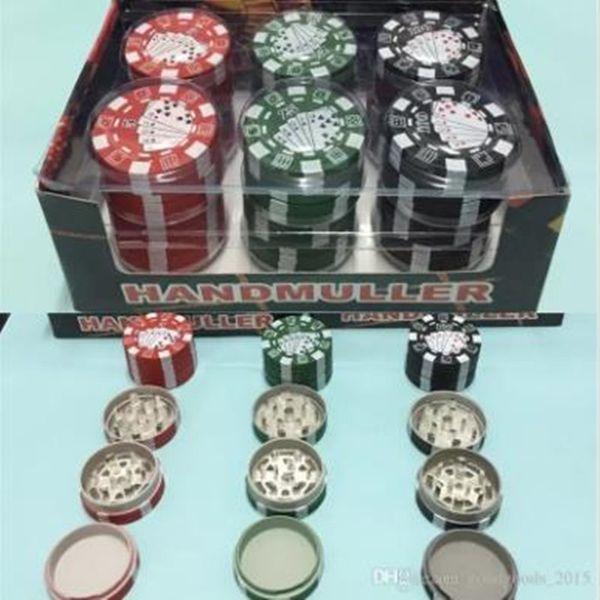 3 strati poker chip stile erbe erbe tabacco smerigliatrici smerigliatrici fumatori accessori per tubi gadget rosso / verde / nero 12 pz / lotto 42.5 * 28mm 38 g 12 pz