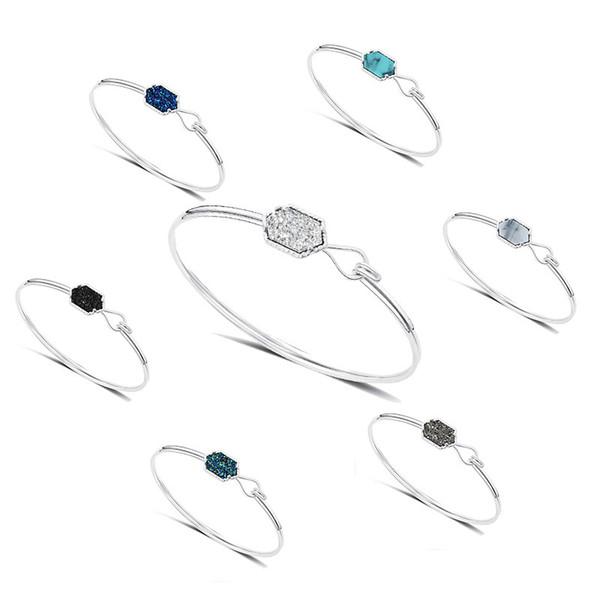 Kendra Scott Diamond Cluster Bracelet Plating Silver Plated Resin Alloy Bracelet Druzy Drusy Multicolor Love Natural Turquoise Jewelry