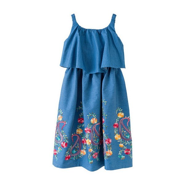 Designer Kid vêtements à volants coupés Denim Off-The-Shoulder-Girl Dress avec broderie florale Décoration Jumper Jupe Longue Filles