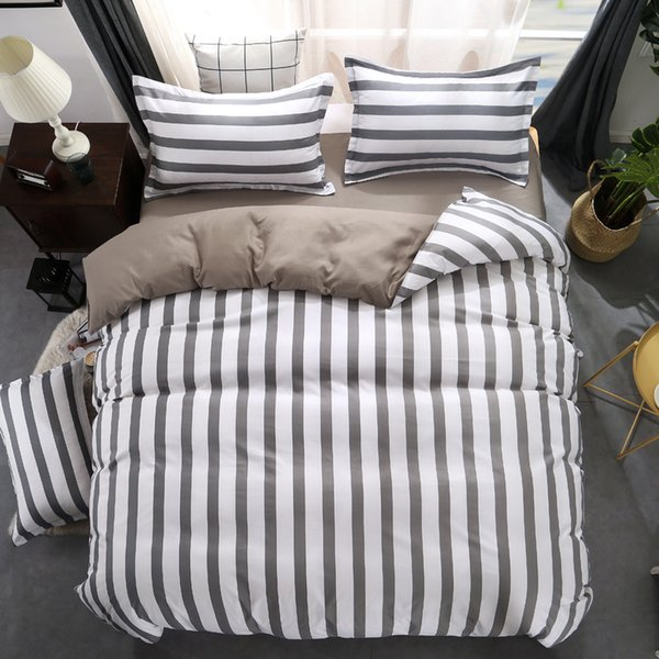 Black white Grey Classic bedding set striped duvet cover white bed linen Geometric flat sheet set queen bed Fashion new