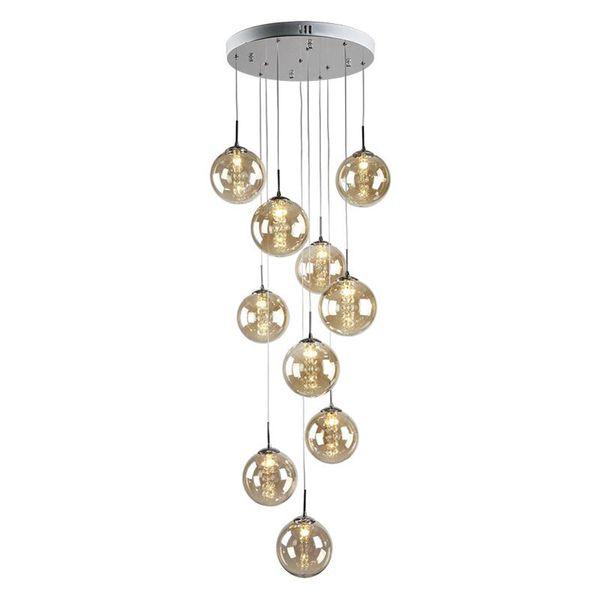 Retro black smoke Glass ball chandelier Lamp for villa hall Living Room G4 led Hanging Light Fixture hotel stairwell chandelier