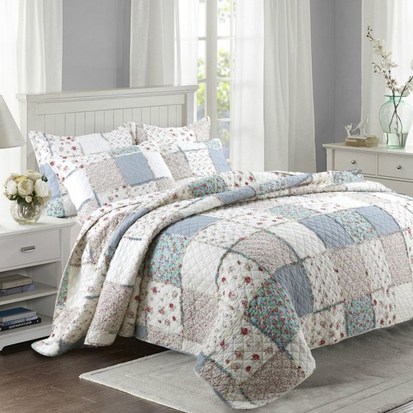 Qualität Floral Quilt Set 3 STÜCKE Gesteppte Bettwäsche Wash Cotton Quilt BedCover Aircondition Tagesdecke Kissenbezug King Size Bettdecke