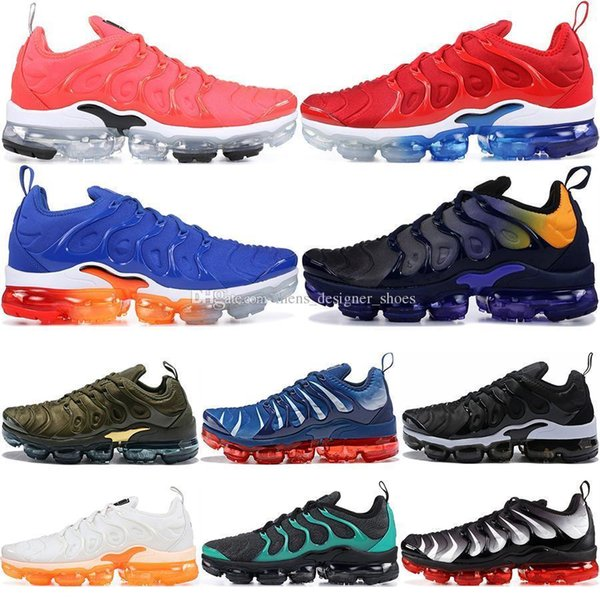 2019 TN Plus Men Running Shoes USA Grape Red Violet Blue Tropical Sunset Triple Black White Womens Trainers Designer Sports Shoes Sneakers