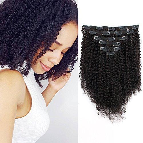 Big Thick Real Remy Human 3C 4A Doppel-Schuss Afro-Lockiger Clip in Haarverlängerungen für Afroamerikaner Schwarze Frauen, 120g 16inch 1b