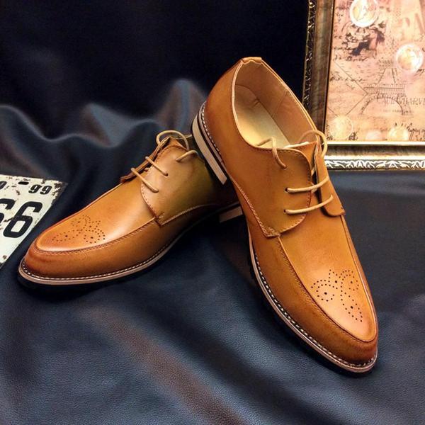2018 New Bullock tallados hombres zapatos Oxford cuero genuino Square Toe hombres Brogue zapatos boda zapatos de vestir de negocios