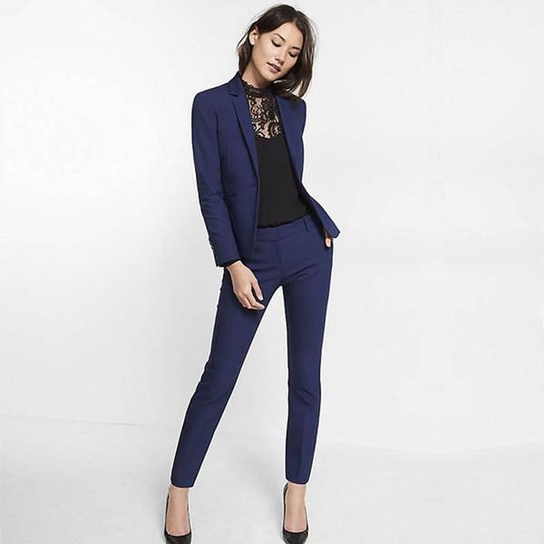 Navy Blue Womens Suit Slim Fit Women Tuxedos Shawl Lapel Suits For Women One Button Formal Business Women Suits Two Piece Sets Jacket+Pants