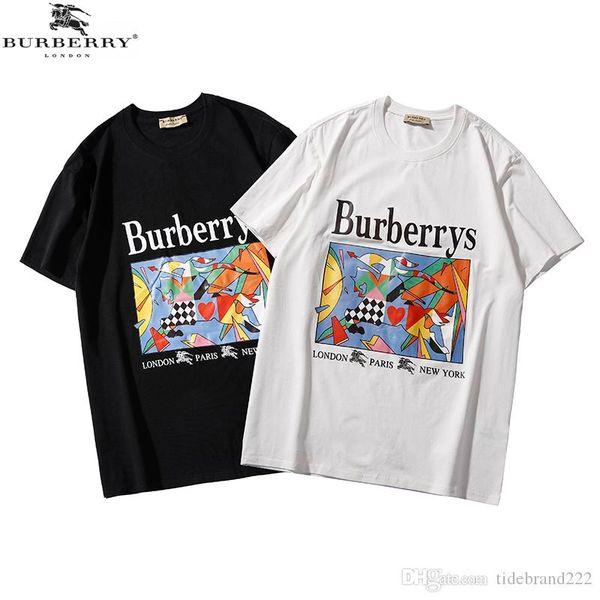312194b37875 Burberry Q896 summer cotton T-shirt mens designer t shirts Oil painting  horse print casual
