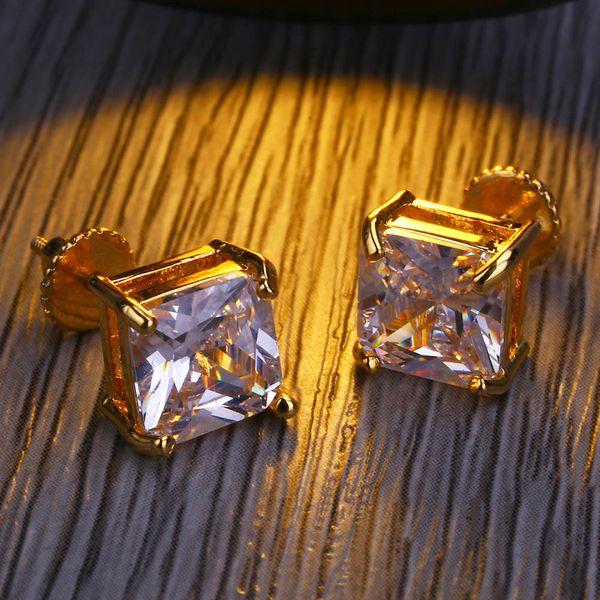 Boucles d'oreilles de luxe Designer Diamond Stud Earring Mens or boucles d'oreilles Mode glacé boucles d'oreilles Hip Hop Bijoux 8 MM