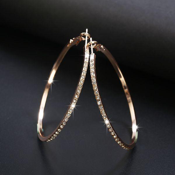 top popular 2018 Fashion Hoop Earrings With Rhinestone Circle Earrings Simple Big Circle Gold Color Loop For Women 2021
