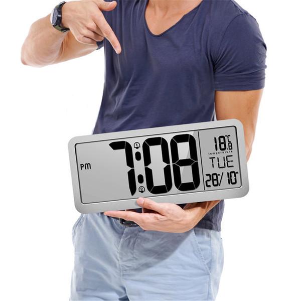 Reloj de pared digital, reloj de escritorio, alarma automática de tiempo Auto Ajuste de la hora cambiante auto, Número Reloj Fecha visualización de temperatura