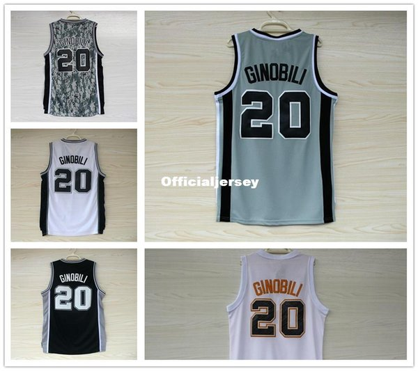 info for d9b06 c98c7 2019 Men'S Basketball Jersey Manu Ginobili #20 Jerseys Embroidery Logo Top  Quality Gray Black Camouflage Sport Shirt Wholesale Ncaa From ...